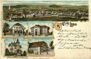 AK / Ansichtskarte Lyss Panorama Baeren Schulhaus Villa Steinegg Handlung von Rosa Kasser Lyss