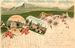 AK / Ansichtskarte Sins Rossberg Rigi Stanserhorn Bachthalmuehle Dorfplatz Sins