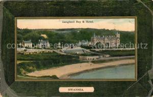 AK / Ansichtskarte Swansea Langland Bay und Hotel Swansea