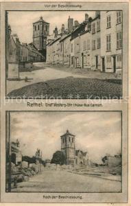 AK / Ansichtskarte Rethel_Ardennes Graf Westarp Str Vor und nach der Beschiessung Rethel Ardennes