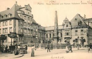 AK / Ansichtskarte Mainz_Rhein Neuer Brunnen und Mainzer Volksbank Mainz Rhein
