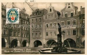 AK / Ansichtskarte Hirschberg_Jelenia_Gora Markt mit Lauben und Neptunbrunnen Hirschberg_Jelenia_Gora