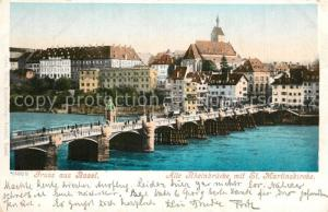 AK / Ansichtskarte Basel_BS Alte Rheinbruecke Sankt Martinskirche Basel_BS