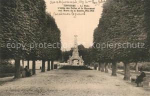 AK / Ansichtskarte Tonnerre Le Patis Allee des Pollus Monument aux Marts de la Guerre Tonnerre