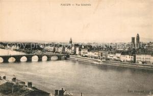 AK / Ansichtskarte Macon_Saone et Loire Vue generale sur la ville et pont sur la Saone Macon Saone et Loire