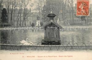 AK / Ansichtskarte Moulins_Allier Square de la Republique Bassin des Cygnes Moulins Allier