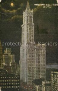 AK / Ansichtskarte New_York_City Woolworth Building at night New_York_City