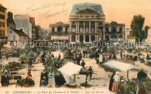 AK / Ansichtskarte Cherbourg_Octeville_Basse_Normandie La Place du Chateau et le Theatre Jour de Marche Cherbourg_Octeville