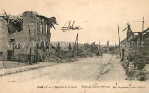 AK / Ansichtskarte Vailly sur Aisne Avenue de la Gare apres le bombardement Vailly sur Aisne
