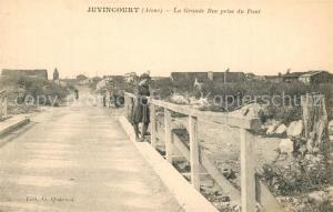 AK / Ansichtskarte Juvincourt et Damary La Grande Rue prise du Pont Juvincourt et Damary