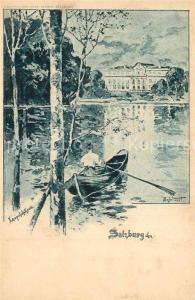 AK / Ansichtskarte Salzburg_Oesterreich Hotel Schloss Leopoldskron Teich Kuenstlerkarte Salzburg_Oesterreich