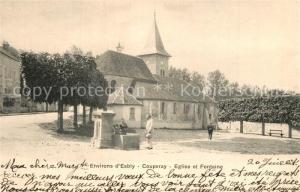 AK / Ansichtskarte Coupvray Eglise et Fontaine Coupvray