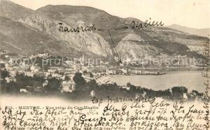 AK / Ansichtskarte Menton_Alpes_Maritimes Vue prise du Cap Martin Menton_Alpes_Maritimes