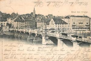AK / Ansichtskarte Basel_BS Alte Rheinbruecke Hotel Drei Koenige Basel_BS