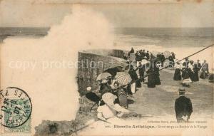 AK / Ansichtskarte Biarritz_Pyrenees_Atlantiques Gros temps au Rocher de la Vierge Biarritz_Pyrenees