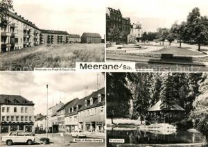 AK / Ansichtskarte Meerane Neubauten Friedrich Engels Ring Weberbrunnen Stadtpark Platz der Roten Armee Meerane