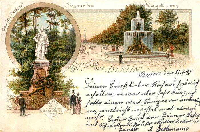 AK / Ansichtskarte Berlin Lessing Denkmal Siegesallee Wrangelbrunnen Berlin 0
