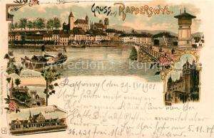 AK / Ansichtskarte Rapperswil_SG Aufstieg zum Lindenhof Bahnhof Panorama Rapperswil SG
