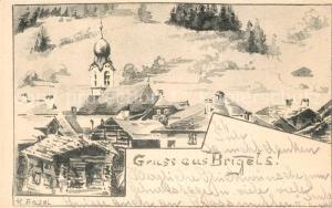 AK / Ansichtskarte Brigels Panorama Kirche Kuenstlerkarte  Brigels