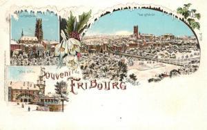 AK / Ansichtskarte Fribourg_FR Cathedrale Hotel d Ville Panorama Winterlitho Fribourg FR