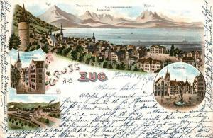 AK / Ansichtskarte Zug_ZG Rathaus Hauptplatz Panorama Bergkette Zug_ZG