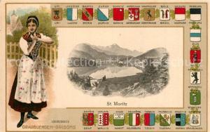 AK / Ansichtskarte Graubuenden_Kanton Grisons Wappen Frau mit Tracht Graubuenden Kanton