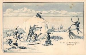 AK / Ansichtskarte Lausanne_VD Les Spports d hiver Winterlandschaft Karikatur Lausanne VD