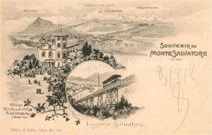 AK / Ansichtskarte Lugano_TI Monte Salvatore Hotel Restaurant Salvatore Kulm Lugano_TI
