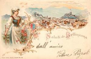 AK / Ansichtskarte Bellinzona Panorama Frau mit Tracht Bellinzona