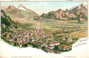 AK / Ansichtskarte Ragaz_Bad Panorama Bergkette Ragaz_Bad