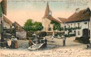 AK / Ansichtskarte Chavornay_Orbe Kirche Ortspanorama Brunnen Chavornay Orbe