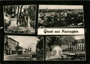AK / Ansichtskarte Neuruppin Fontane Denkmal Statue Karl Marx Strasse Karl Marx Platz Brunnen Neuruppin