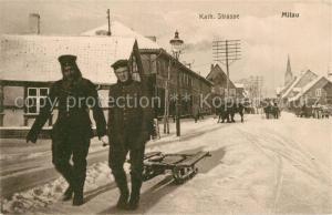 AK / Ansichtskarte Mitau Katholische Strasse Soldaten Winter Mitau