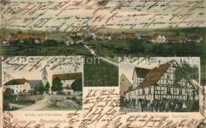 AK / Ansichtskarte Oberfischbach_Grosserlach Kirche Pfarrhaus Wirtschaft Baeckerei Handlung Oberfischbach_Grosserlach