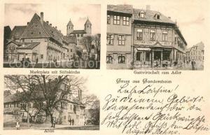 AK / Ansichtskarte Gandersheim_Bad Marktplatz Stiftskirche Gastwirtschaft zum Adler Abtei Gandersheim_Bad