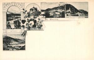 AK / Ansichtskarte St_Moritz_GR Innfall Piz Julier Piz Albana Paracelsusquelle Kirche St_Moritz_GR