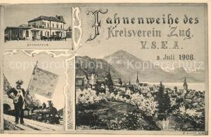 AK / Ansichtskarte Zug_ZG Fahnenweihe des Kreisverein Bahnhof Zug_ZG