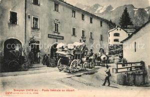 AK / Ansichtskarte Simplon_Dorf Poste federale au depart Simplon Dorf