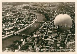 AK / Ansichtskarte Basel_BS Fliegeraufnahme Drei Rheinbruecken Ballon Basel Basel_BS
