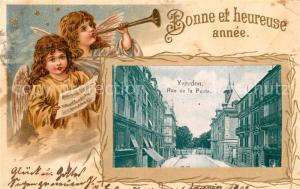 AK / Ansichtskarte Yverdon_VD Rue de la Poste Weihnachtsgruesse