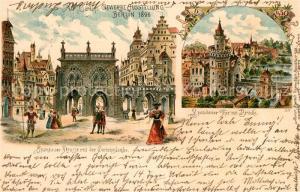 AK / Ansichtskarte Ausstellung_Gewerbe_Berlin_1896 Spandauer Strasse Gerichtslaube Spandauer Tor Br?cke Litho