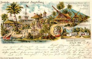 AK / Ansichtskarte Ausstellung_Gewerbe_Berlin_1896 Versammlungsh?user Siar und Muschu Neu Guinea Ost Afrika Litho