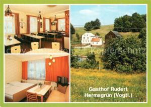 AK / Ansichtskarte Hermsgruen Gasthof Rudert Gastraum Fremdenzimmer Hermsgruen