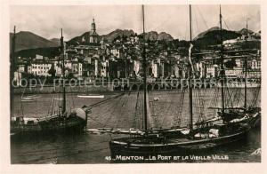 AK / Ansichtskarte Menton_Alpes_Maritimes Le port et la vieille ville Menton_Alpes_Maritimes