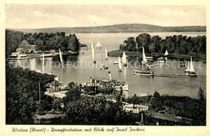 AK / Ansichtskarte Kladow Dampferstation mit Blick auf Insel Imchen Kladow