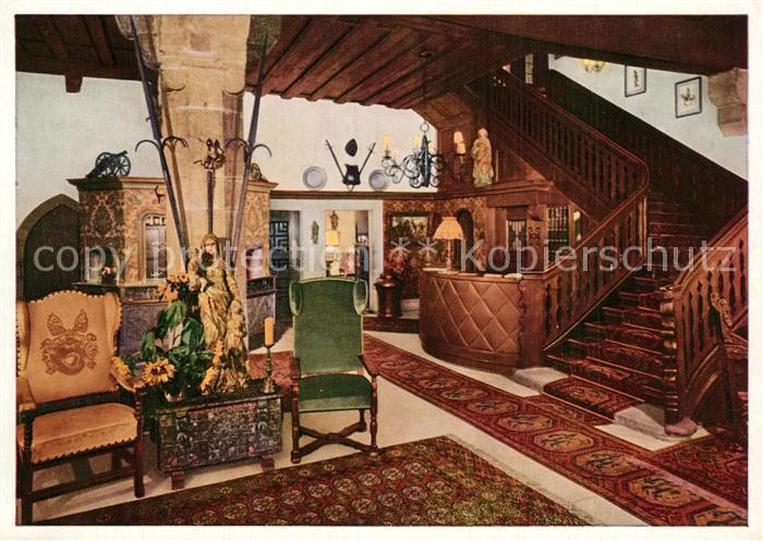 AK / Ansichtskarte Rothenburg_Tauber Hotel Eisenhut Hotelhalle Rothenburg Tauber 0