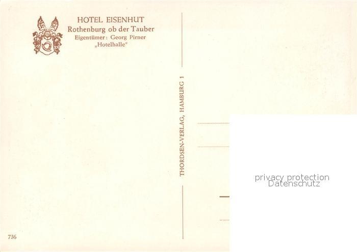 AK / Ansichtskarte Rothenburg_Tauber Hotel Eisenhut Hotelhalle Rothenburg Tauber 1