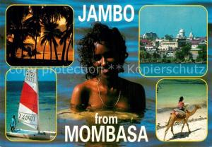 AK / Ansichtskarte Mombasa Panorama Segelboot Kamelreiter Mombasa