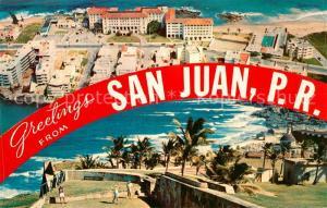 AK / Ansichtskarte San_Juan_Puerto_Rico Aerial view of Condado Beach Hotel Golf Course Morro Castle San_Juan_Puerto_Rico