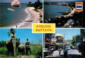 AK / Ansichtskarte Pattaya Around the city Watersports Beach Elephants at work Main street shopping Pattaya